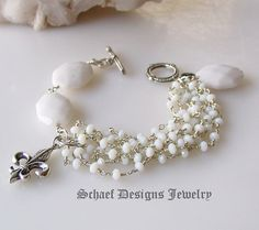 White opal quartz & Sterling Silver gemstone bracelet   Schaef Designs artisan handcrafted gemstone Jewelry   upscale online jewelry gallery boutique   San Diego, CA - $469.00