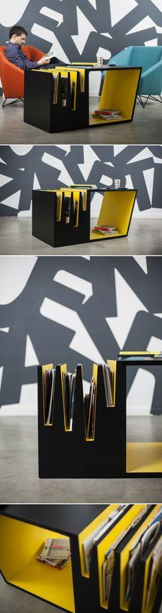 Table marque page  Avantages: double fonction ; table , range livre et marque pages  Particularités; meuble asymétrique