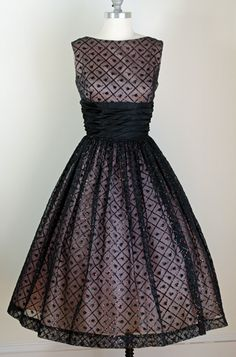 1950s Black Confetti Flocked, full skirt, cinched waist