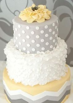Gray and Yellow  Wedding Cake by delores