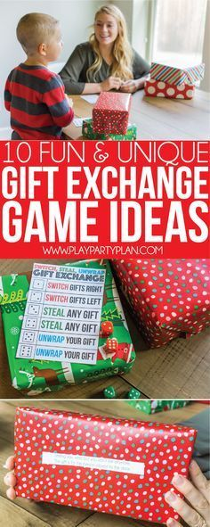 10+ gift exchange game ideas that are perfect for any Christmas party! Some of the best Christmas party games no matter what age - for adults, for teens, for kids, and even for a family night! These gift exchange ideas are not your typical white elephant one, they're way better! via @playpartyplan