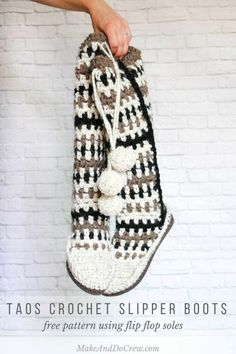 I love these! This free crochet mukluk pattern is the perfect treat for your feet this season! These crochet slipper boots are made with Lion Brand Wool-Ease Thick & Quick and use flip flops for soles.
