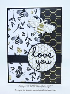 Golden Honey card – Stamp with Nellie Bee Honeycomb, Love You Images, Golden Honey, Bee Cards, Stamping Up Cards, Paper Cards, Cardmaking, Designer, Stampin Up
