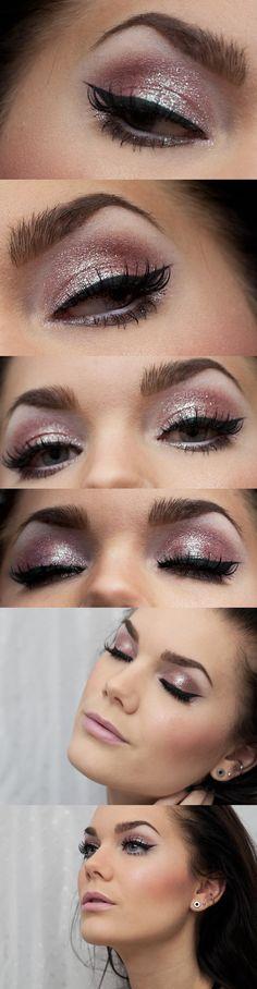 Pink metallic cat-eye  formal make up?