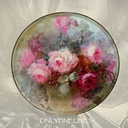 """Magnificent - T&V - Limoges - France - 16"""" - Charger - Tray - Platter - Hand Painted - Romantic - Victorian Bouquets - Pink Tea Roses - Artist Signed - Master Artist - FRANZ BERTRAM AULICH - One-of-a-Kind - Museum Quality - Rare Historical Treasure"""