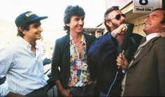 George with Ringo, Jackie Stewart & Nelson Piquet