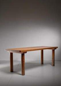 """A very rare Charlotte Perriand rectangular four leggedpine table from the Arc 1600 ski resort.  The table is 190 cm long and has a 5 cm (2"""") thick top. It stands on four thick round (9 cm diameter/3.5"""") legs."""
