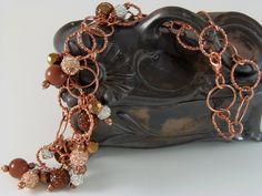 Copper Bling Ball Necklace by DesignsByJuneBug on Etsy