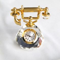 Vintage Timex Collectible Mini Clock Old Fashioned Telephone Crystal Phone $36  http://www.rubylane.com/item/885482-CO-105/Vintage-Timex78-Collectible-Mini-Clock