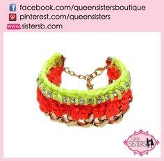 #bracelet #crystal #orange #yellow
