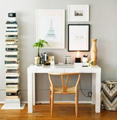 How to Style a West Elm Parsons Desk // white lacquer // neutral // gold // white // black // grey walls // home office space // photography by Danielle Moss // styling by Alaina Kaczmarski.like the book shelf Home Office Desks, Home Decor Inspiration, Desk Inspiration, Home, Workspace Inspiration, Parsons Desk, House Interior, Small Home Office Desk, Office Design