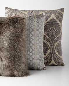 Handcrafted Gray & Silver Pillows by D. Kap Home at Horchow. Silver Pillows, Grey Pillows, Accent Pillows, Fox Pillow, Pillow Sale, Cheap Throw Pillows, Decorative Throw Pillows, Condo Decorating, Home Decor Furniture