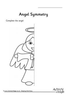 Complete the picture of this little Christmas angel and learn about symmetry at the same time. Choose from a gridded version of the worksheet (easier) or blank. Little Christmas, Christmas Angels, Christmas Themes, Christmas Crafts, Symmetry Worksheets, Activity Village, First Grade Activities, Business For Kids, Advent