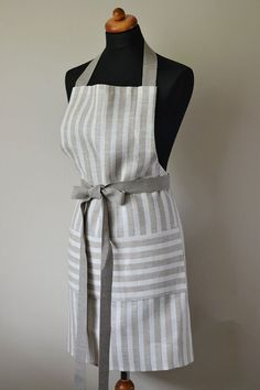 Linen Apron - striped full apron natural linen gray with white stripes and with one big pocket is stylish and elegant unisex cafe apron, beautiful foodie gift.Use it and feel like a best chef in the your kitchen. Cafe Apron, Men's Apron, Mens Polo T Shirts, Farmhouse Aprons, Fibre And Fabric, Apron Designs, Aprons For Men, Linen Apron, Women's Ministry