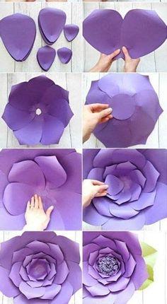 Paper Flowers Craft, Paper Flower Backdrop, Giant Paper Flowers, Paper Roses, Flower Crafts, Diy Flowers, Flower Decorations, Diy Paper, Paper Crafts