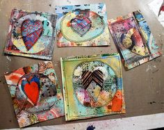 Julie Fei-Fan Balzer: Painted and stitched cards.  Love 'em!