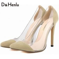 {D&H}Brand Shoes Woman Flock Women Pumps Sexy Transparent High Heels Women Dresses Shoes Gift socks sapatos femininos de salto