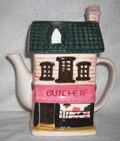 Giftcraft - Vtg Hand Painted Butcher Shop Shape Ceramic Teapot Figurine L6T 5H7