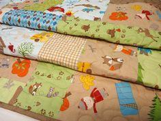 Baby Quilt, Baby Boy Quilt, Crib Quilt, Modern Patchwork Quilt baby, Fox Trails, Brown, Orange. $169.00, via Etsy.