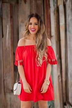 Elle Harper : Red, Tassel OTS Dress for $31!