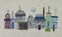 "City Plan #13, 2013, etching, drypoint, screen, collagraph, konnnyaku & machine stitching on Washi, variable edition of 3, 10.25"" h x 16"" w."