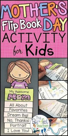 This Mother's Day Flip Book Craftivity is fun easy and will go right along with the other cards gifts ideas and crafts that you have planned for your kids to do for their mothers aunts or grandmas. Six tabs provide information that shows just how mu Mothers Day Book, Mothers Day Crafts For Kids, Mothers Day Cards, Gifts For Kids, Mom Cards, Mother's Day Activities, Holiday Activities, Easter Activities, Spring Activities