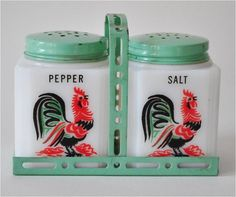 1940s Vintage Milk Glass Rooster Salt & Pepper Shakers in Painted Metal Carrier.