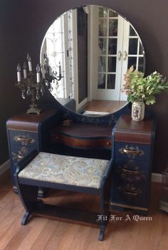 Items similar to SOLD-Gorgeous Waterfall Vanity on Etsy Refurbished Furniture, Paint Furniture, Repurposed Furniture, Furniture Projects, Furniture Makeover, Vintage Furniture, Furniture Design, Mirror Furniture, Decoupage Furniture