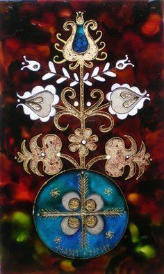 Dávid Júlia festőművész honlapja | Galéria | Üvegkompozíciók Homemade Tattoos, Polish Folk Art, Deities, Stained Glass, Cool Art, Stencils, Weird, Mandala, Christmas Ornaments