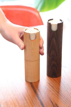 teal and gold | salt and pepper grinder set: american black walnut and eastern maple