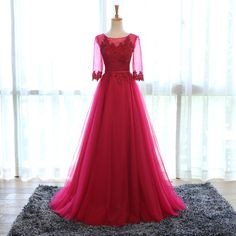 Middle Sleeve Prom Dress,Lace Prom Dress,A Line Prom