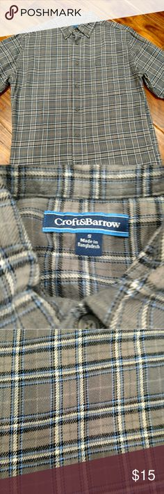 Croft and Barrow flannel shirt NWOT Bought, washed, posted for sale! Never worn. Grey flannel with blue stripes croft & barrow Shirts Casual Button Down Shirts