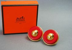 HERMES RED LEATHER HUGE RUNWAY MINT VINTAGE EARRINGS available only at PILGRIM 70 Orchard St. NYC