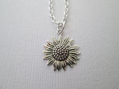 Silver Sunflower Necklace by HazelSarai on Etsy, $10.00