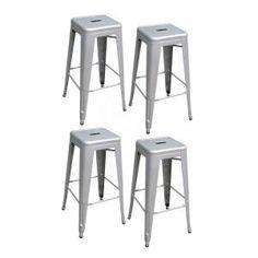 stackable metal bar stool in black set of 4