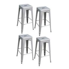 AmeriHome 30 in. Silver Metal Bar Stool Set, (4-Pack)-BS030SET at The Home Depot