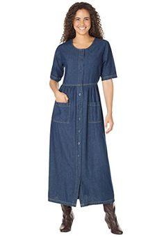 Woman-Within-Womens-Plus-Size-Empire-Waist-Denim-Dress-0