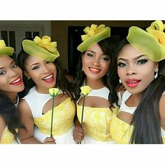 Bridesmaids Petite Bridesmaids Dresses, Lace Bridesmaids, Bridesmaid Hair, Fascinator Hats, Fascinators, African Traditional Wear, Funky Hats, Floral Headbands, African Fashion Dresses