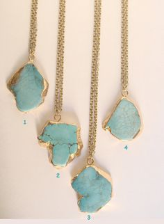Gemstone slice necklace Turquoise gemstone necklace by Cecileis