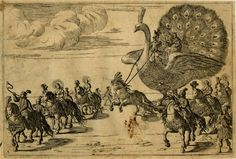 Plate 3: a trumpeter and maidens riding elaborately dressed horses, another horse pull a float with an enormous peacock on which stands Mercury (?) holding the reins and a crowned goddess seated behind, other riders visible alongside  Etching