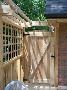 Backyard Gates, Garden Gates And Fencing, Backyard Privacy, Backyard Patio Designs, Garden Doors, Fence Gates, Fence Doors, Wood Fences, Building A Fence Gate