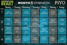 Angie Bellemare Fitness: BODY BEAST & PIYO WORKOUT ♡ HYBRID SCHEDULE