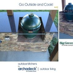 Grill and Big Green Egg in this Custom Belgard Outdoor Kitchen - Des Moines - Central Iowa - Huxley Big Green Egg Outdoor Kitchen, Backyard Kitchen, Green Egg Grill, Bbq Bar, Barbecue Smoker, Bbq Island, Green Eggs, Outdoor Living, Go Outside