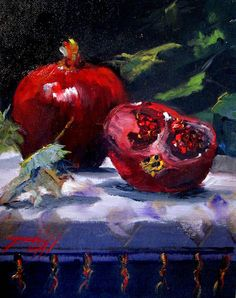 Pomegranates orignal oil painting still life of by Artbydelilah