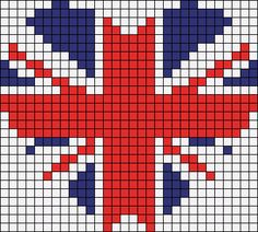 union jack x stitch heart Loom Beading, Beading Patterns, Embroidery Patterns, Cross Stitch Designs, Cross Stitch Patterns, Cross Stitching, Cross Stitch Embroidery, Pixel Pattern, Quilt Pattern