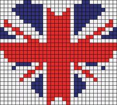 union jack x stitch heart Cross Stitching, Cross Stitch Embroidery, Embroidery Patterns, Beading Patterns, Cross Stitch Designs, Cross Stitch Patterns, Pixel Pattern, Quilt Pattern, Cross Stitch Heart