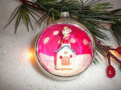 Vintage Christmas Ornaments ~ Shiny Brite Mercury Glass Diorama Pink Church Ornament