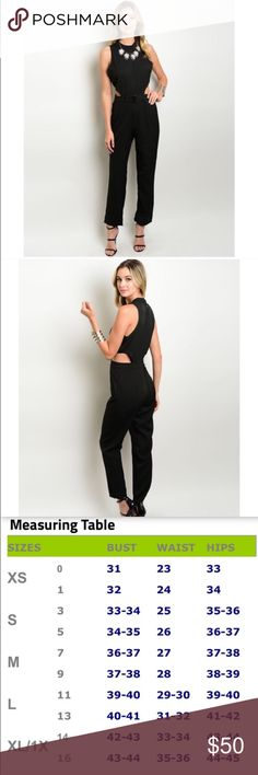 "30% off BUNDLES! Black cutout jumpsuit with attached belt. This is a reposh unfortunately 😣 it looks so great on, but slightly too short in the torso for me so it didn't fit quite right. For reference I am 5'10"", so it would be perfect for someone shorter than that. NWT, retail. Only tried on once. Permission from previous seller to use stock photos. Boutique Pants Jumpsuits & Rompers"