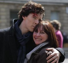 A lovely behind-the -scenes shot of Benedict Cumberbatch and hair stylist for Sherlock, aka his twist and diffuse expert :-). Posted to twitter by, I believe, her husband.