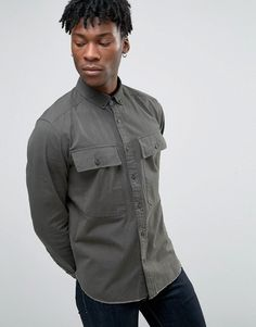 ASOS Overshirt With Two Pockets And Raw Hem - Green